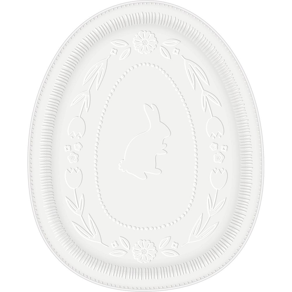 White Bunny Egg-Shaped Easter Platter Image #1