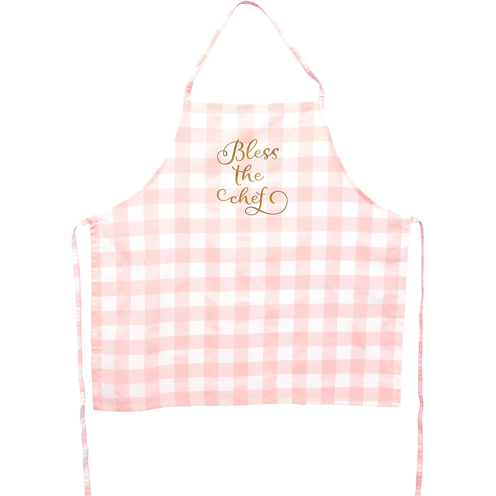 Adult Pink & White Plaid Bless the Chef Apron Image #1
