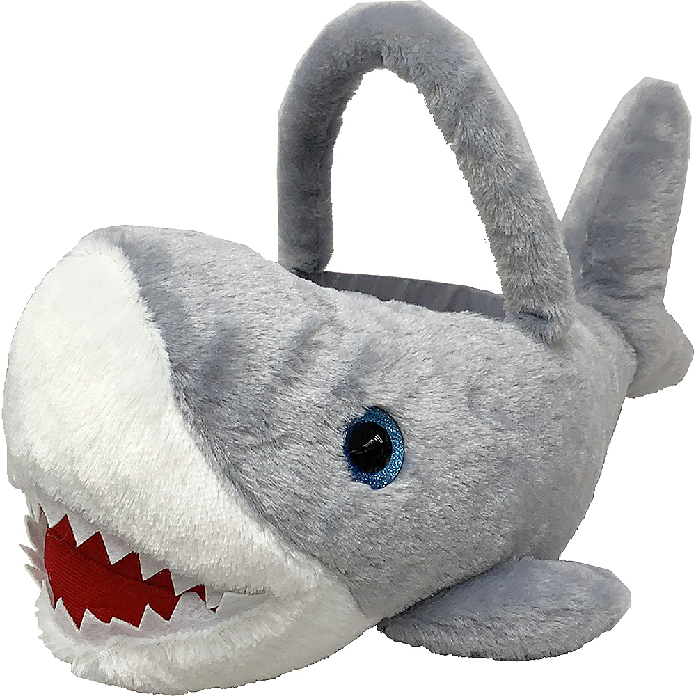 Plush Gray Shark Basket Image #1