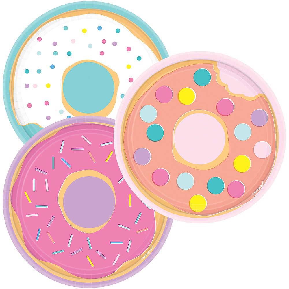 Assorted Donut Party Dessert Plates 8ct Image #1