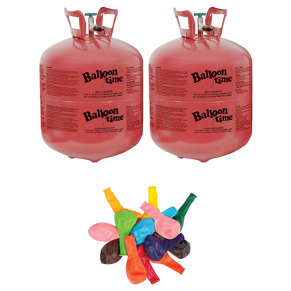 Balloon Time Large Helium Tanks (2) with 72 Balloons & Ribbon Image #1