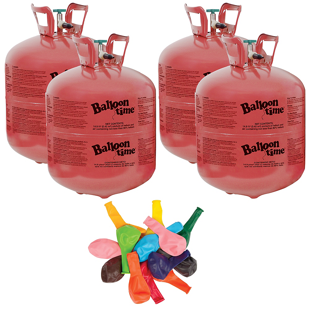 Balloon Time Large Helium Tanks (4) with 72 Balloons & Ribbon Image #1