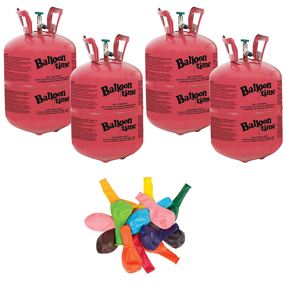 Balloon Time Small Helium Tanks (4) with 72 Balloons & Ribbon Image #1