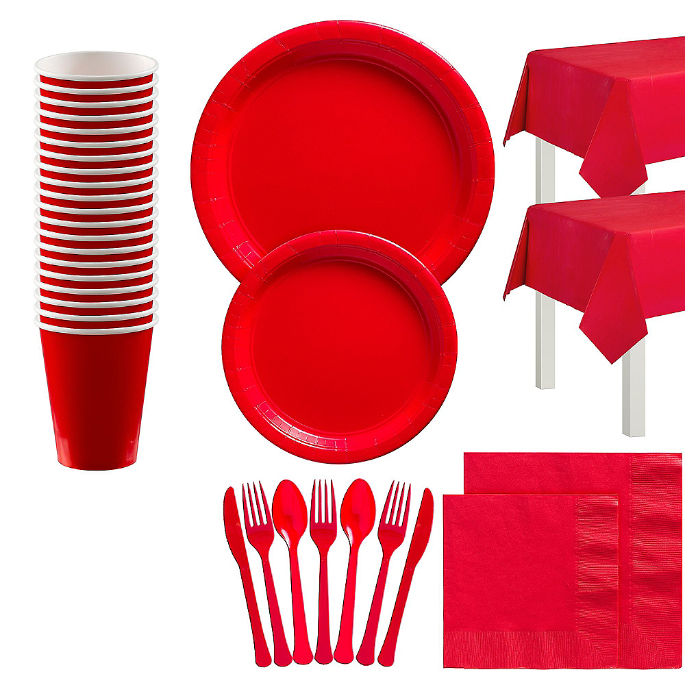 Red Tableware Kit for 20 Guests Image #1