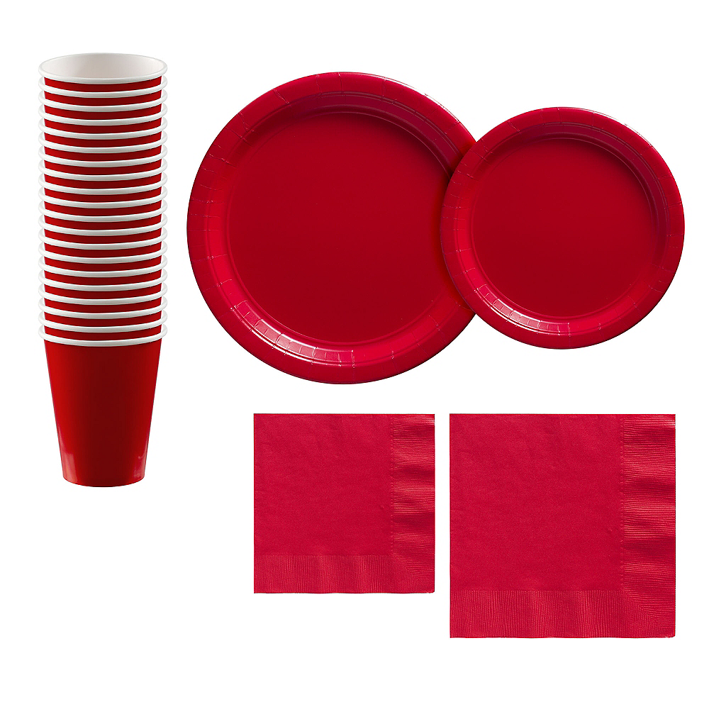 Red Paper Tableware Kit for 20 Guests Image #1
