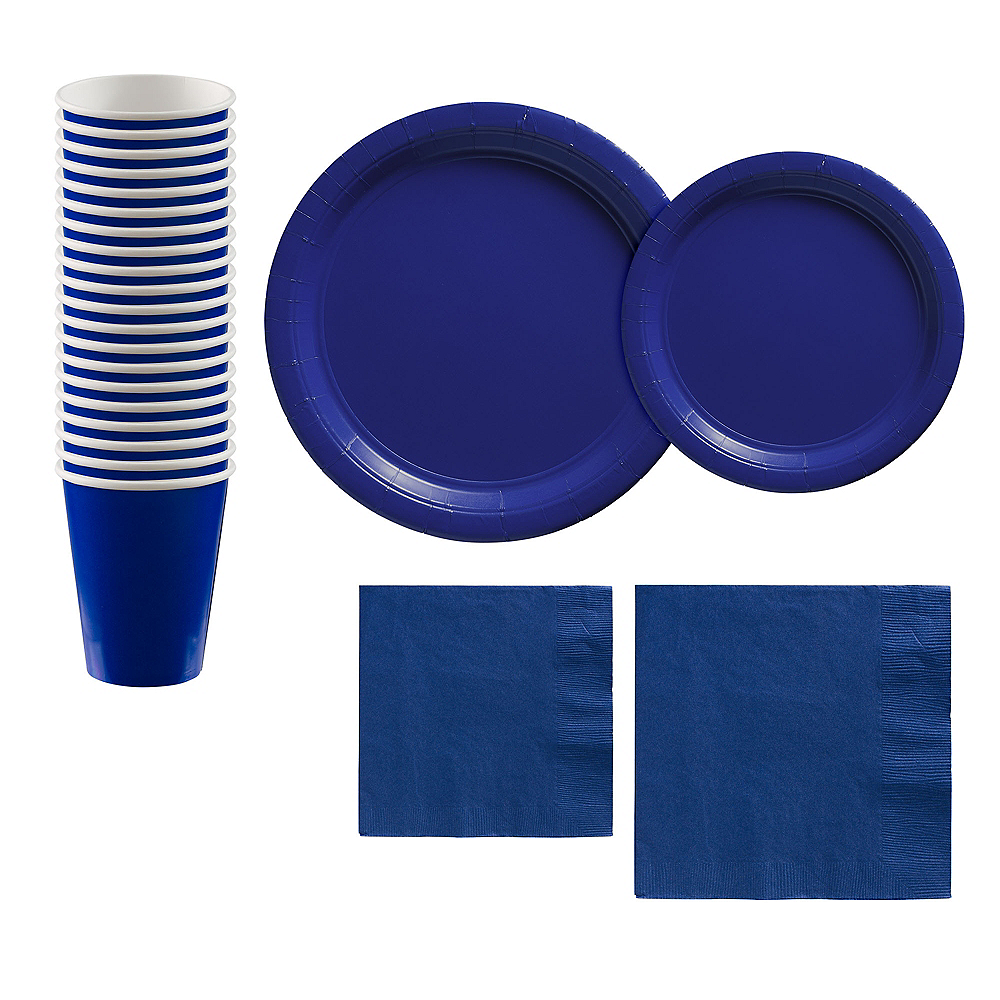 Royal Blue Paper Tableware Kit for 20 Guests Image #1