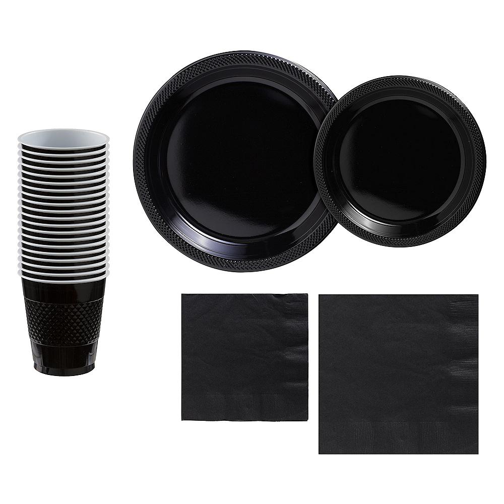 Black Plastic Tableware Kit for 20 Guests Image #1