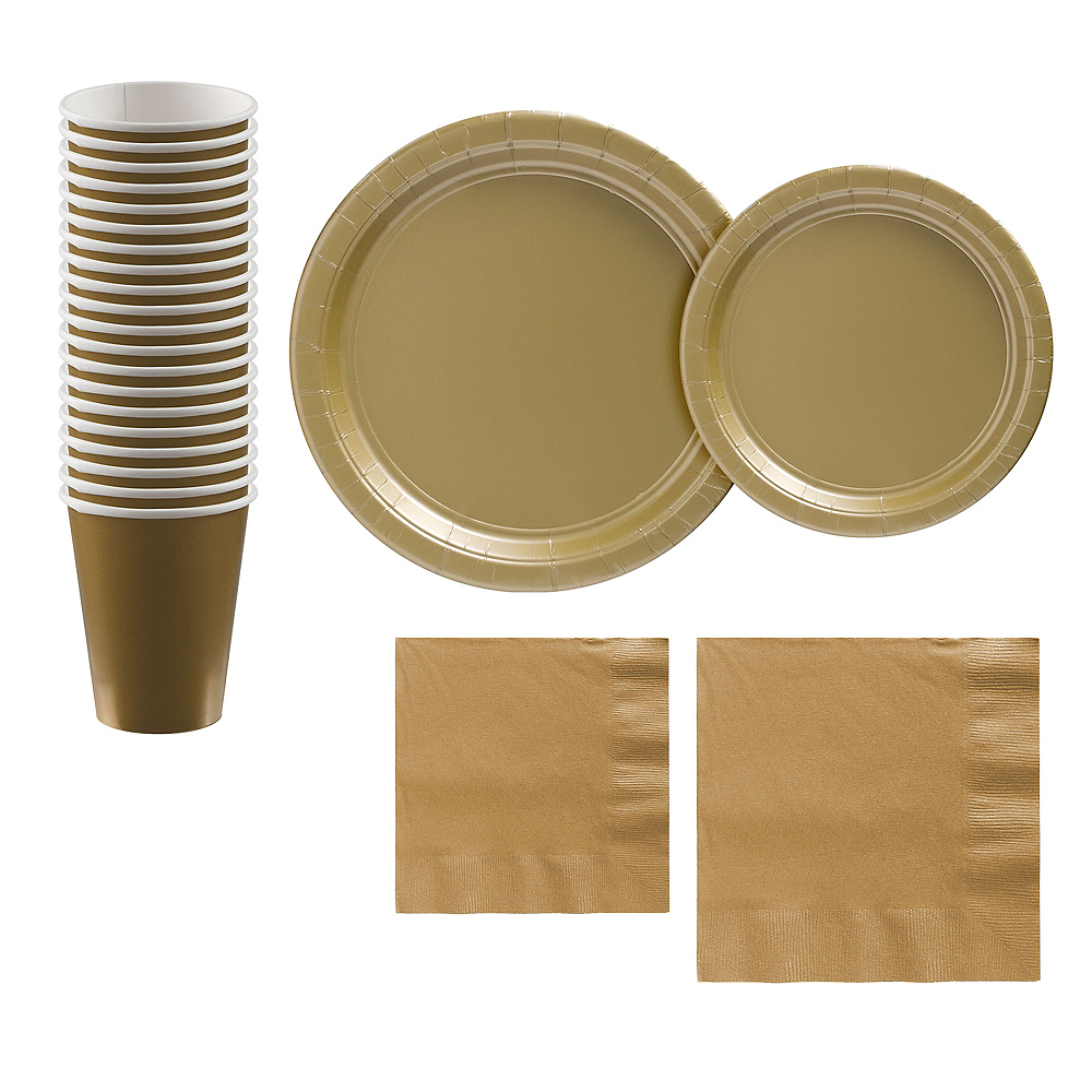 Gold Paper Tableware Kit for 20 Guests Image #1