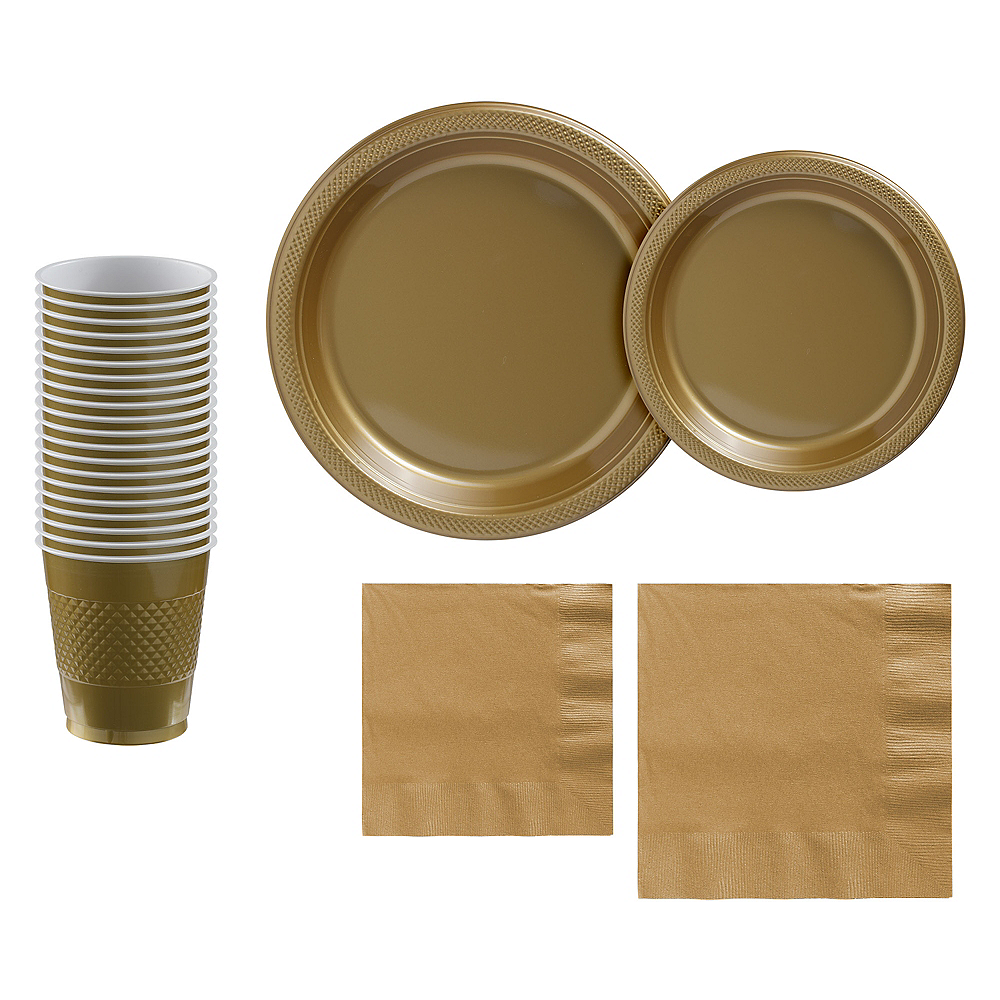 Gold Plastic Tableware Kit for 20 Guests Image #1