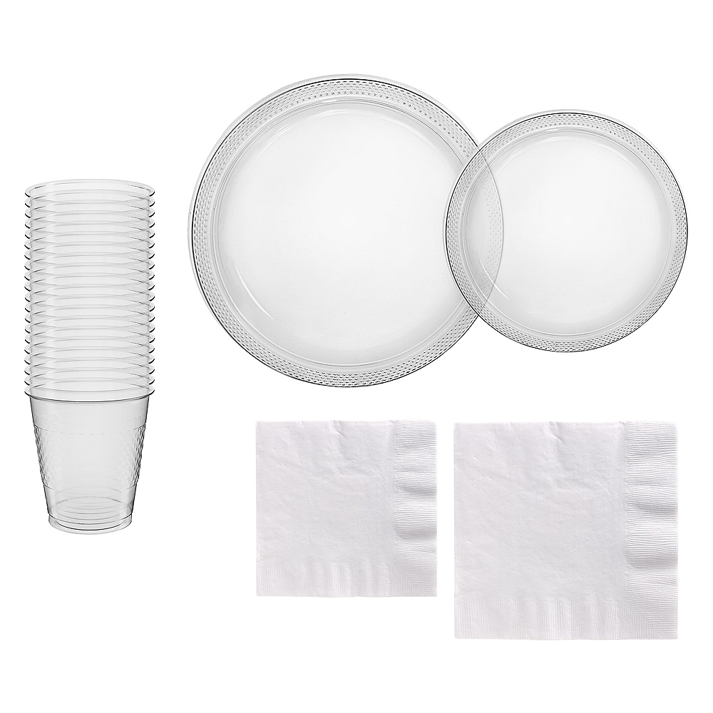 CLEAR & White Plastic Tableware Kit for 20 Guests Image #1