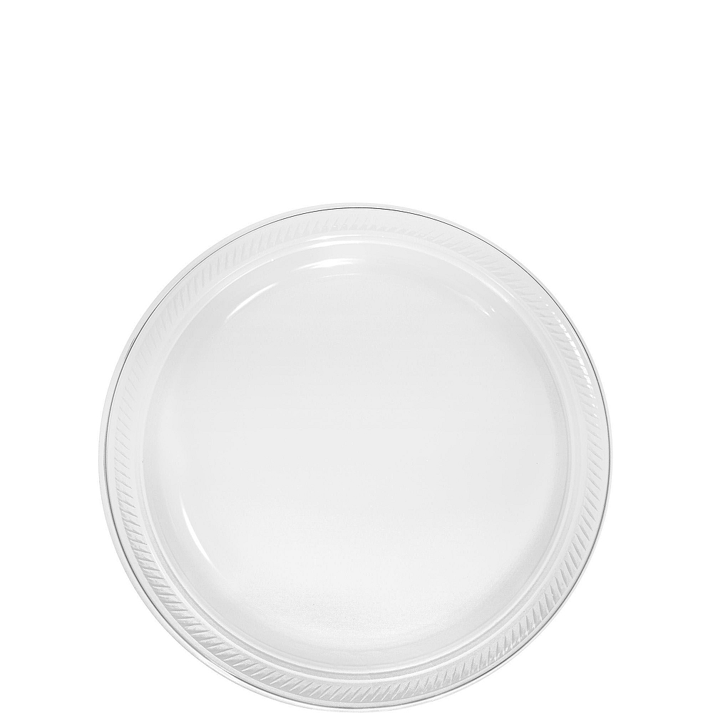 CLEAR & White Plastic Tableware Kit for 20 Guests Image #2