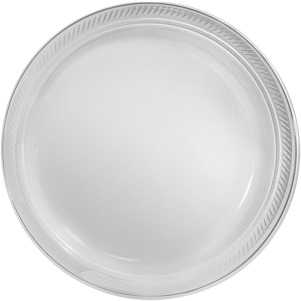 CLEAR & White Plastic Tableware Kit for 20 Guests Image #3