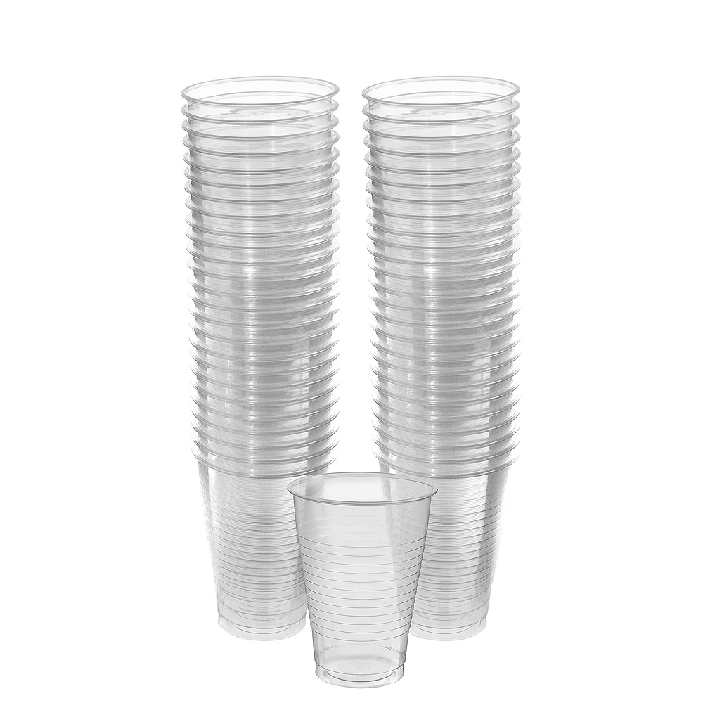 CLEAR & White Plastic Tableware Kit for 20 Guests Image #6