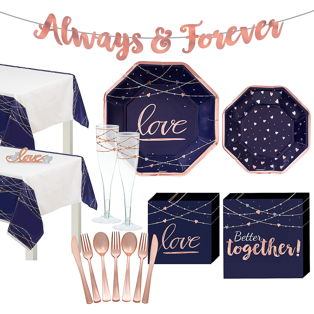 Navy & Rose Gold Wedding Tableware Kit for 32 Guests Image #1