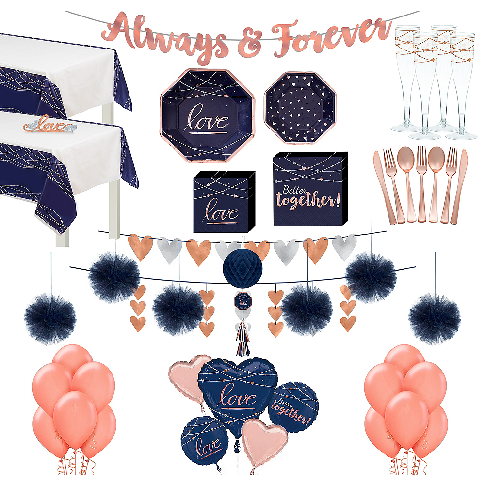 Navy & Rose Gold Premium Wedding Tableware Kit for 50 Guests Image #1