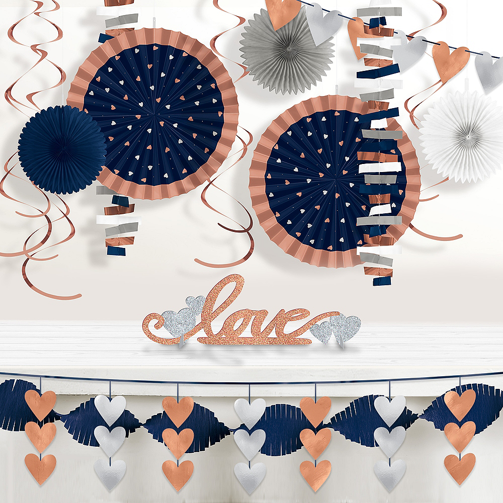 Navy & Rose Gold Table Decorating Kit 4pc | Party City