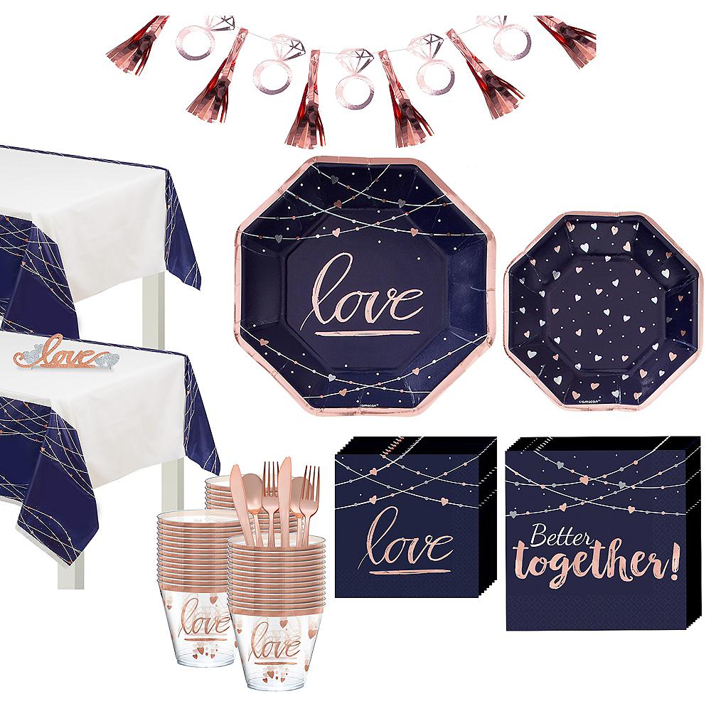 Navy & Rose Gold Bridal Shower Tableware Kit for 50 Guests Image #1