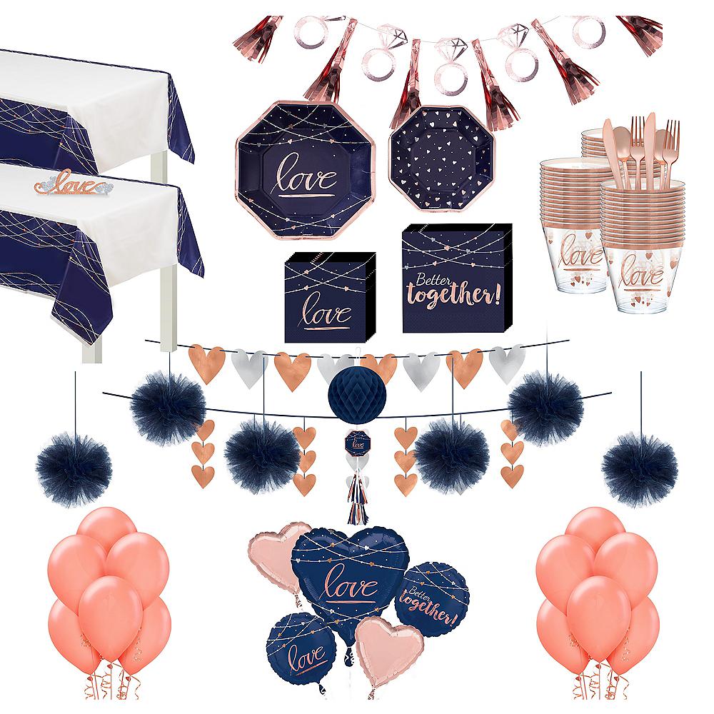 Navy & Rose Gold Premium Bridal Shower Tableware Kit for 32 Guests Image #1