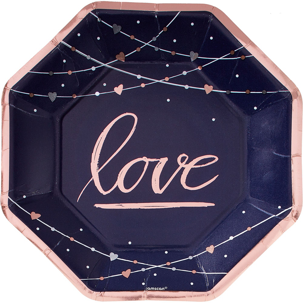Navy & Rose Gold Premium Bridal Shower Tableware Kit for 32 Guests Image #3