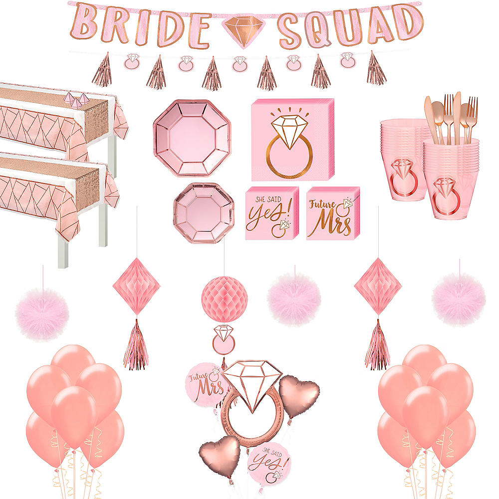 Blush Rose Premium Bridal Shower Tableware Kit for 32 Guests Image #1