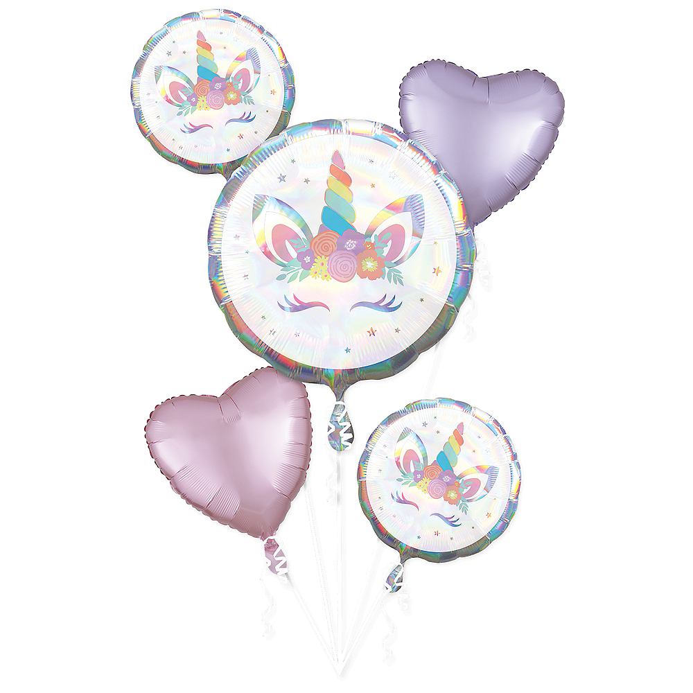 Iridescent Unicorn Party Balloon Bouquet 5pc Image #1