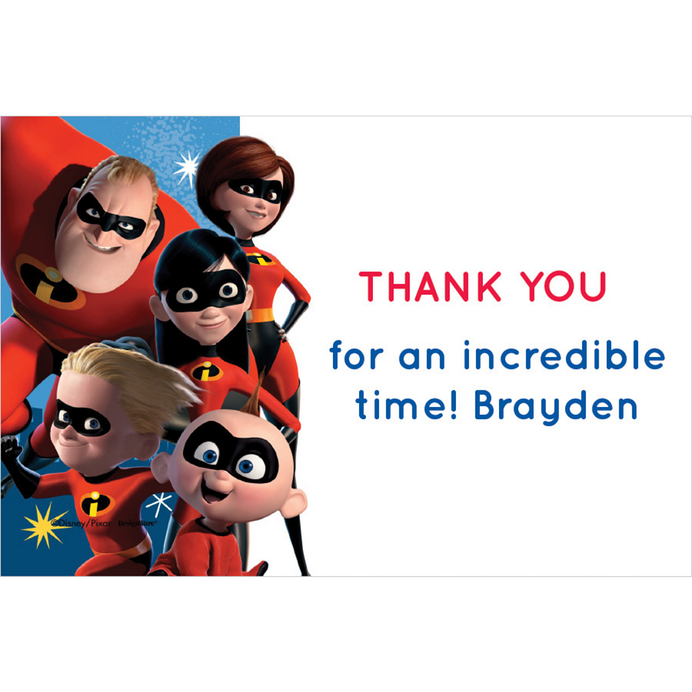 Custom Incredibles 2 Thank You Notes Image #1