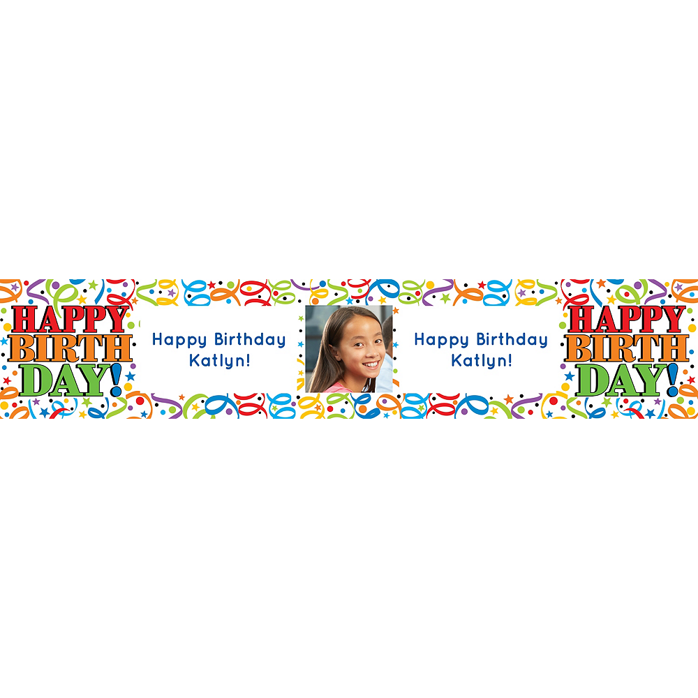 Custom Colorful Birthday Photo Table Runner Image #1