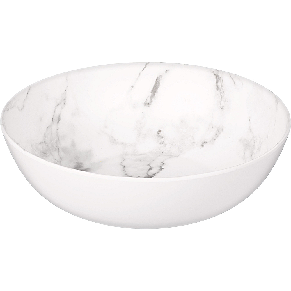 Faux White Marble Melamine Large Serving Bowl Image #1