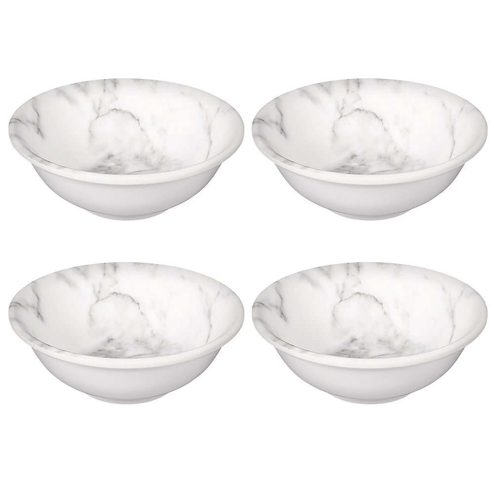 Faux White Marble Melamine Serving Bowls 4ct Image #1