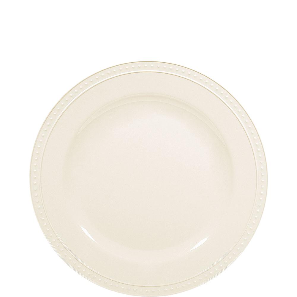 Creamy White Melamine Beaded Dessert Plate Image #1