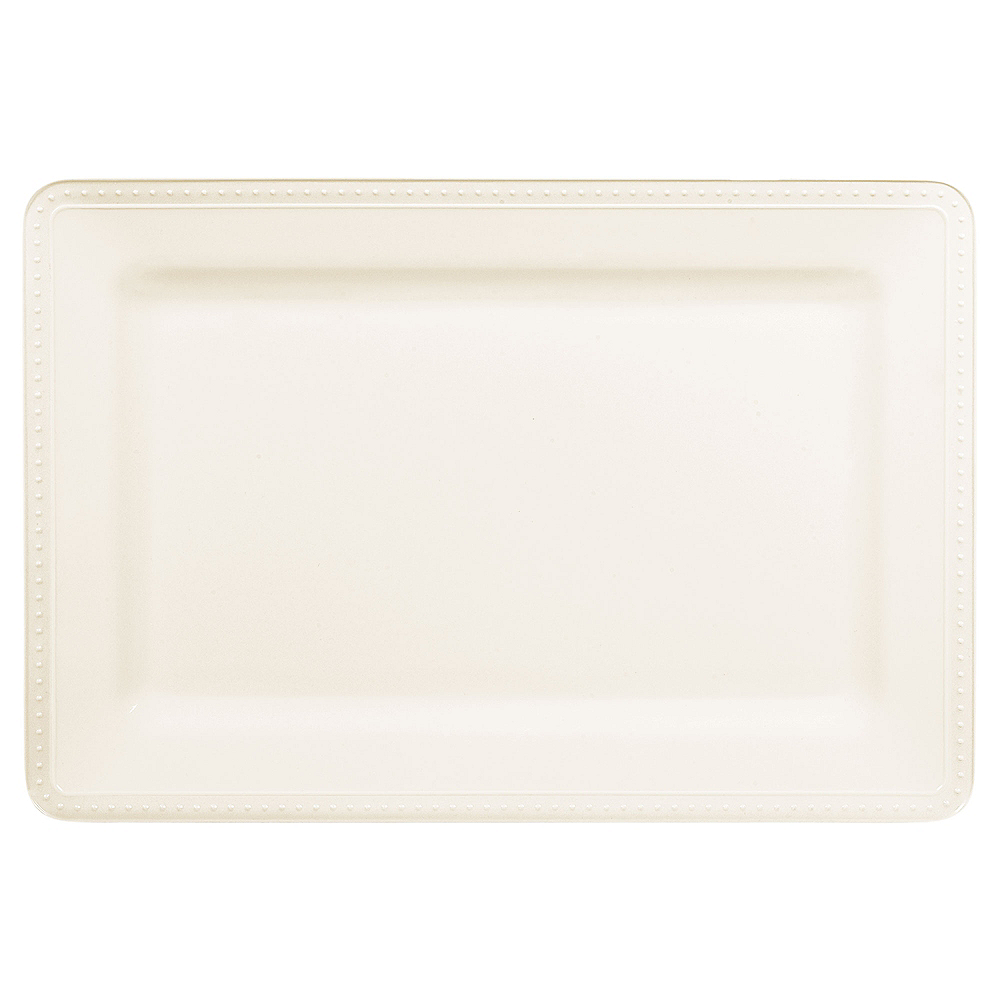 Creamy White Melamine Beaded Rectangular Platter Image #1