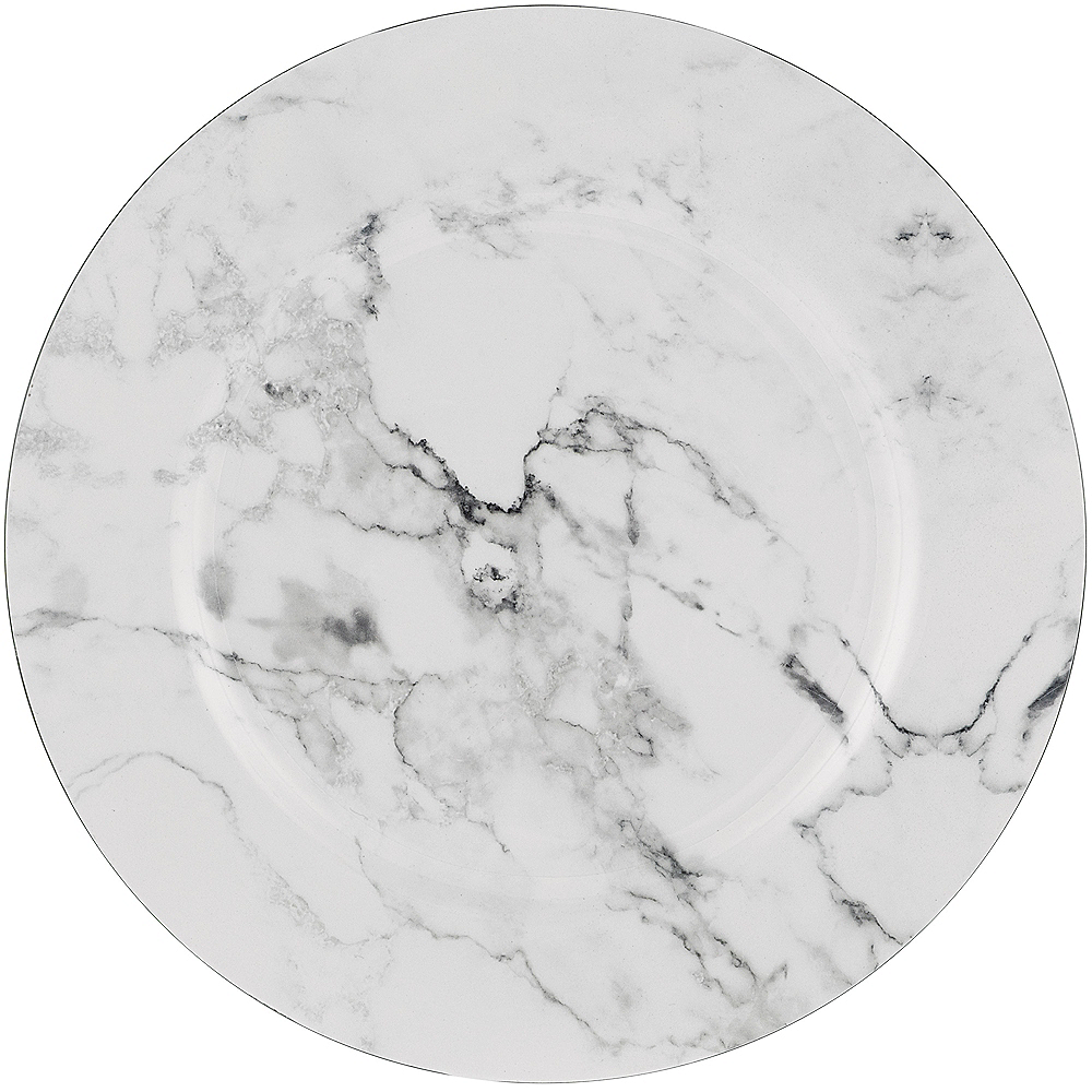 Nav Item for White Marble Plastic Charger Image #1