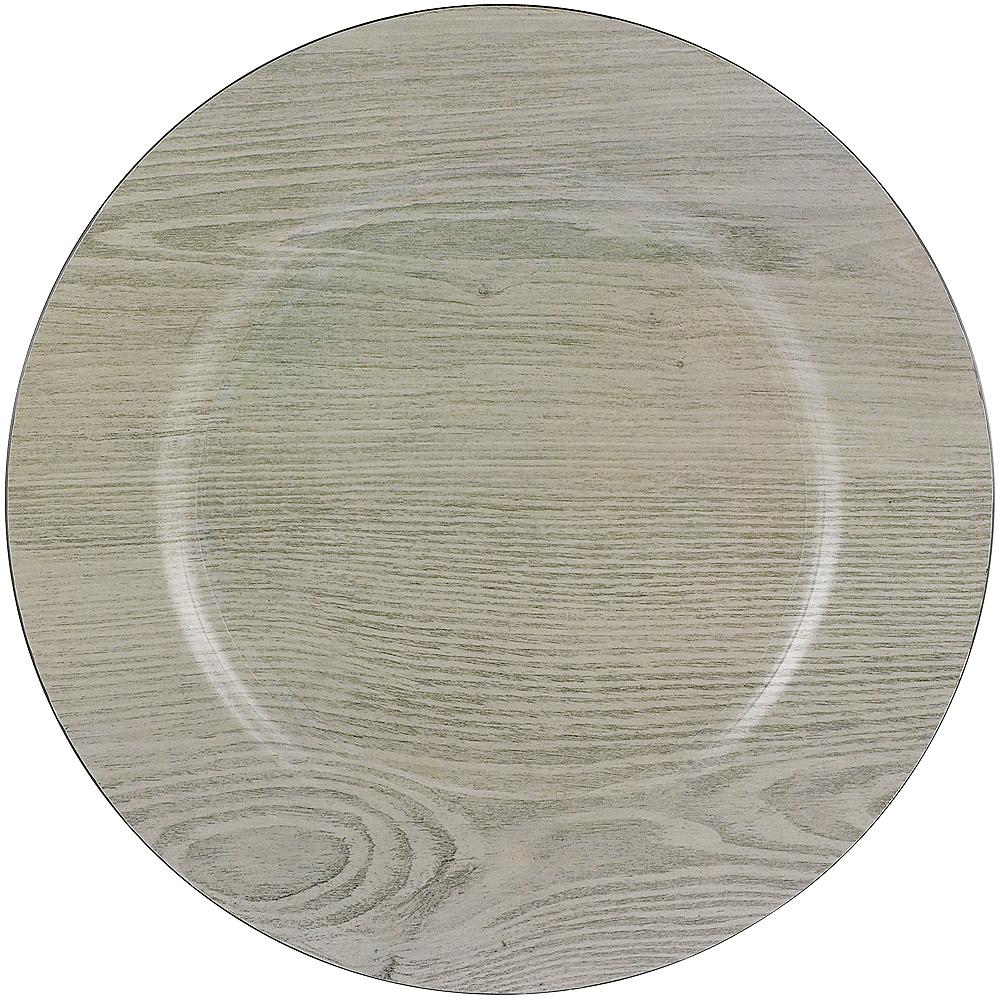 Woodgrain Plastic Charger Image #1