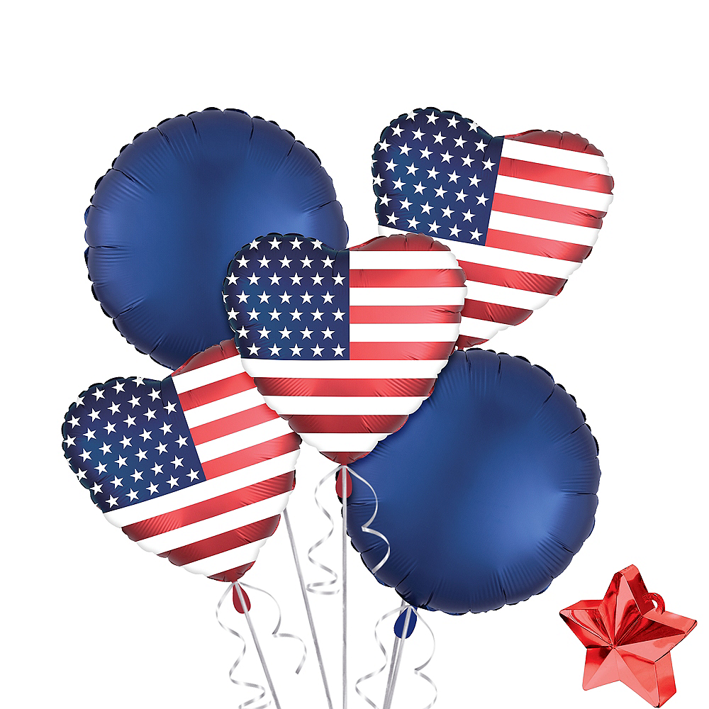 American Flag Satin Heart Balloon Kit 7pc Image #1