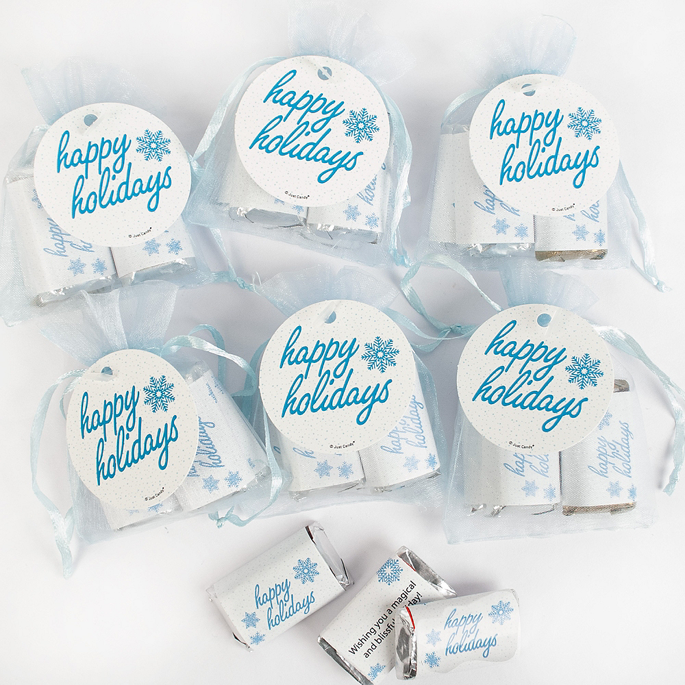 Happy Holidays Organza Bags with Hershey's Miniatures 6ct Image #1