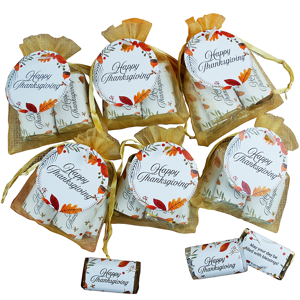 Thanksgiving Hershey's Chocolate Miniatures Organza Bags 6ct Image #1