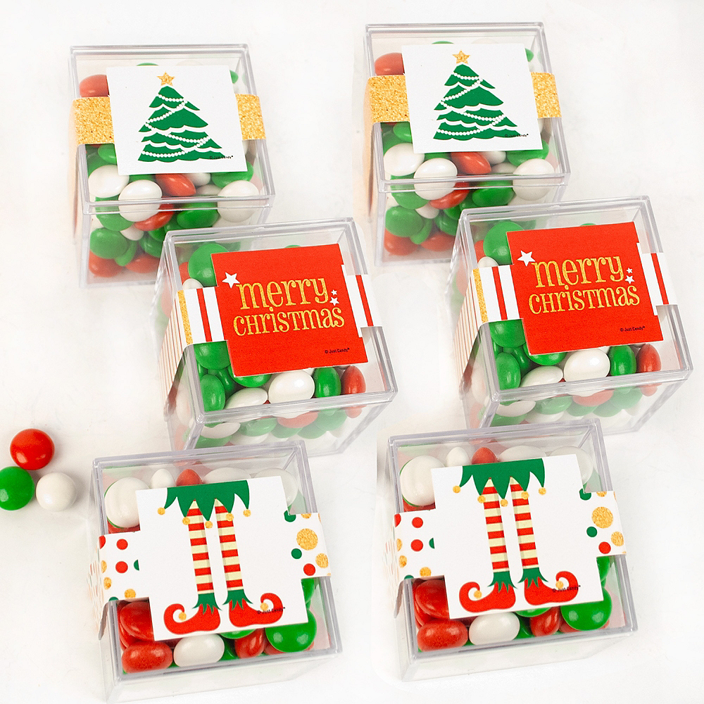 Merry Christmas Favor Cubes with Sixlets Chocolate 6ct Image #1