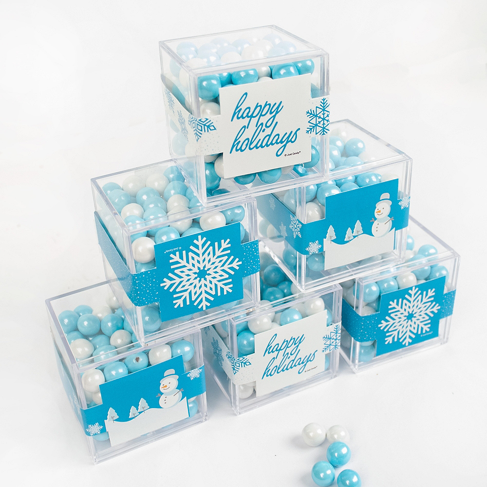 Happy Holidays Favor Cubes with Sixlets Chocolate 6ct Image #1