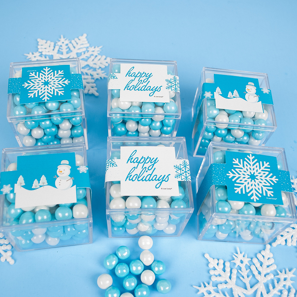Happy Holidays Favor Cubes with Sixlets Chocolate 6ct Image #2
