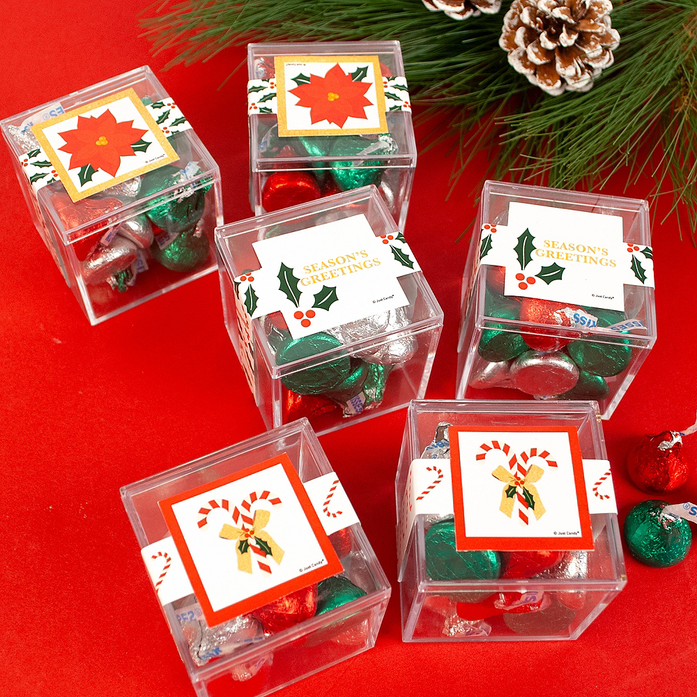 Season's Greetings Favor Cubes with Hershey's Kisses 6ct Image #2