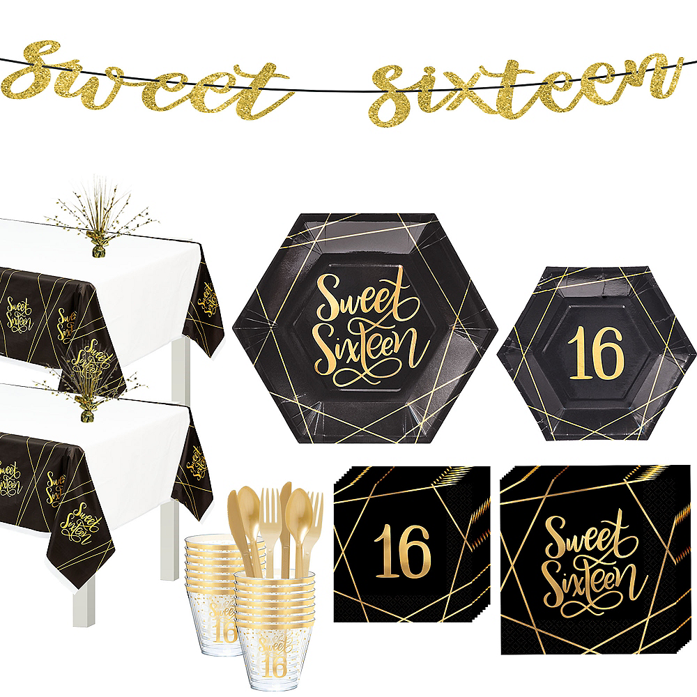 Nav Item for Elegant Sweet 16 Tableware Kit for 16 Guests Image #1
