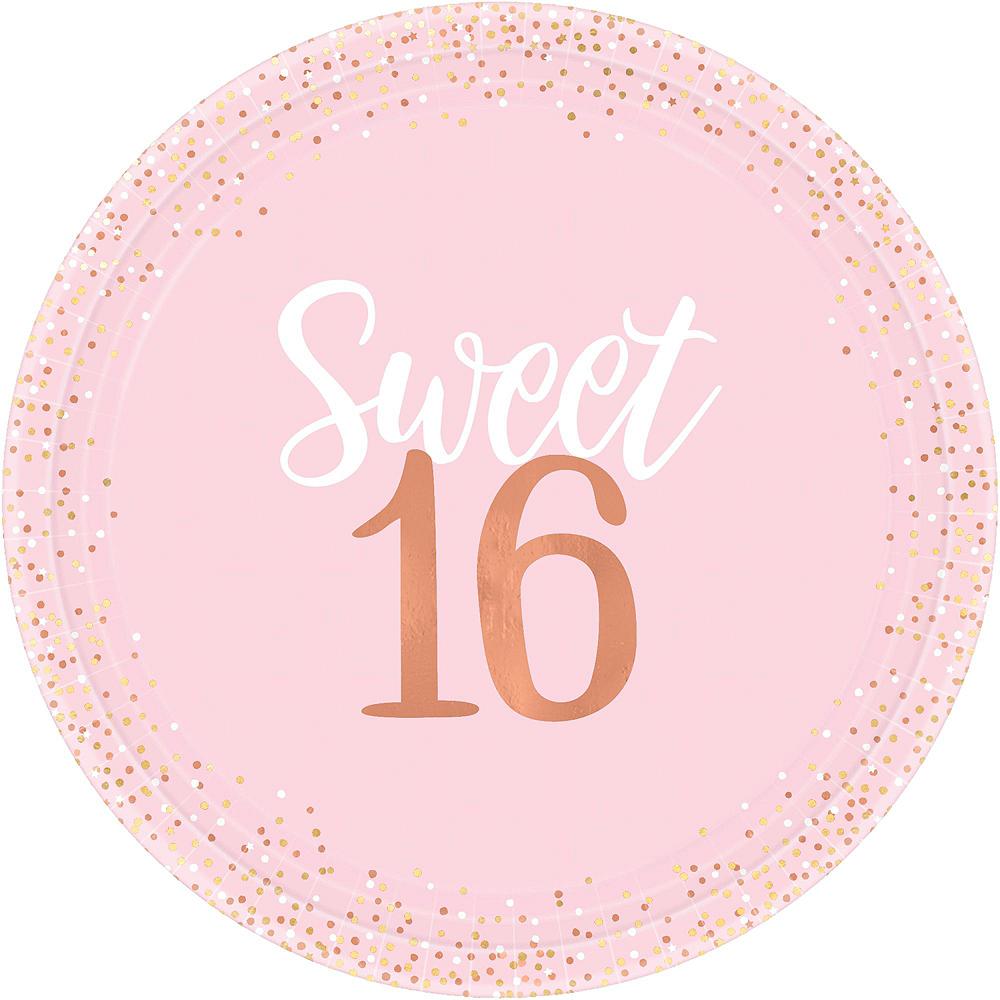 Metallic Rose Gold & Pink Sweet 16 Tableware Kit for 16 Guests Image #3