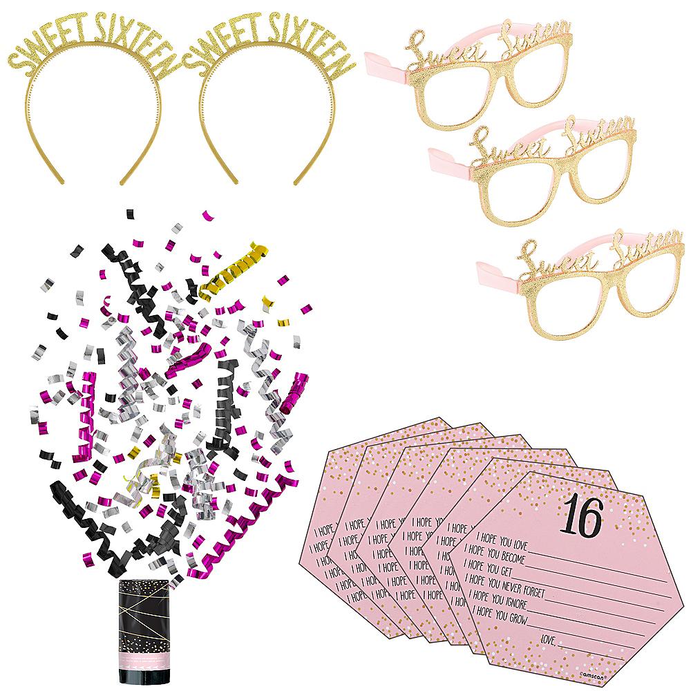 Super Metallic Rose Gold & Pink Sweet 16 Favor Kit for 16 Guests Image #1