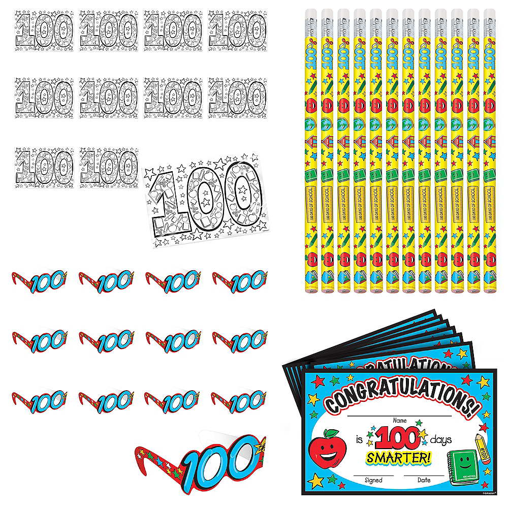 100 Days of School Classroom Party Favors 120pc Image #1