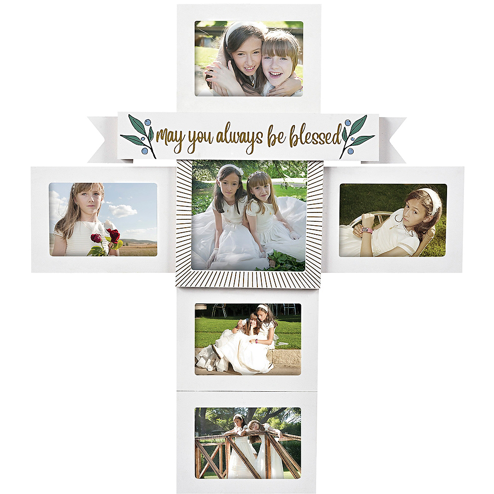 White & Gold Be Blessed Cross Photo Frame Image #1