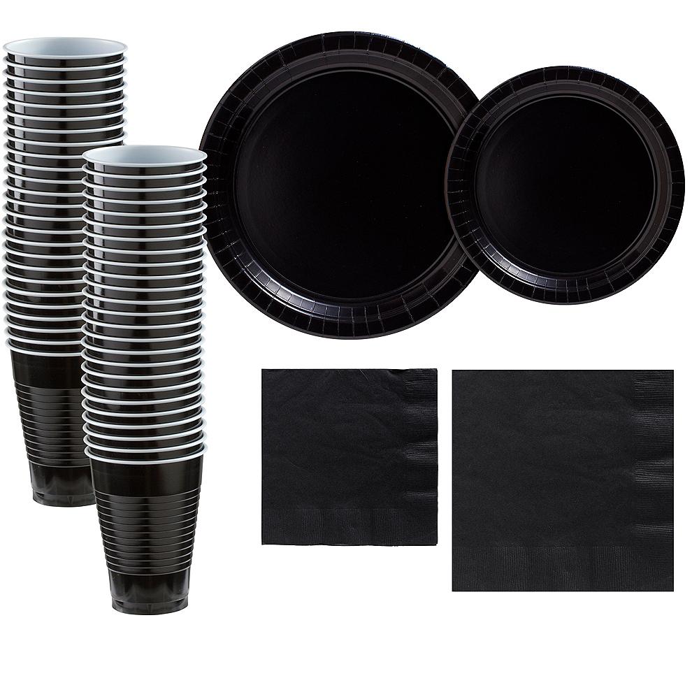 Black Paper Tableware Kit for 50 Guests Image #1