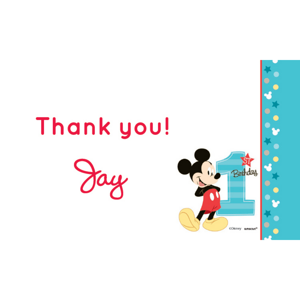 Custom Mickey's 1st Birthday Thank You Notes Image #1