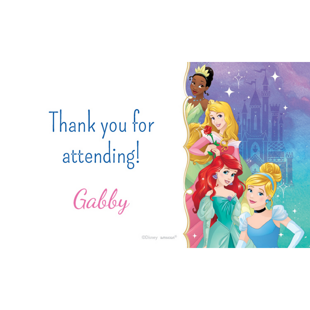 Custom Once Upon a Time Disney Princess Thank You Notes Image #1
