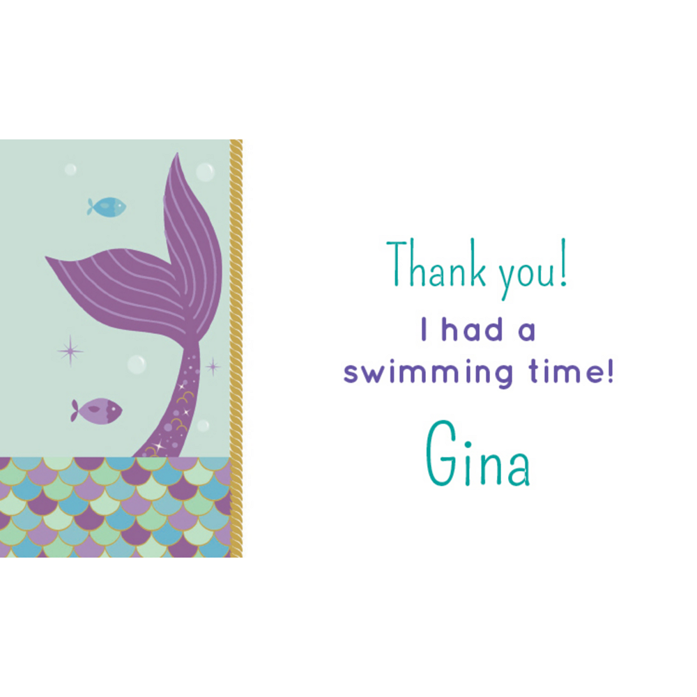Custom Mermaid Wishes Thank You Notes Image #1