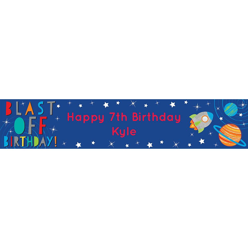 Custom Blast Off Birthday Table Runner Image #1